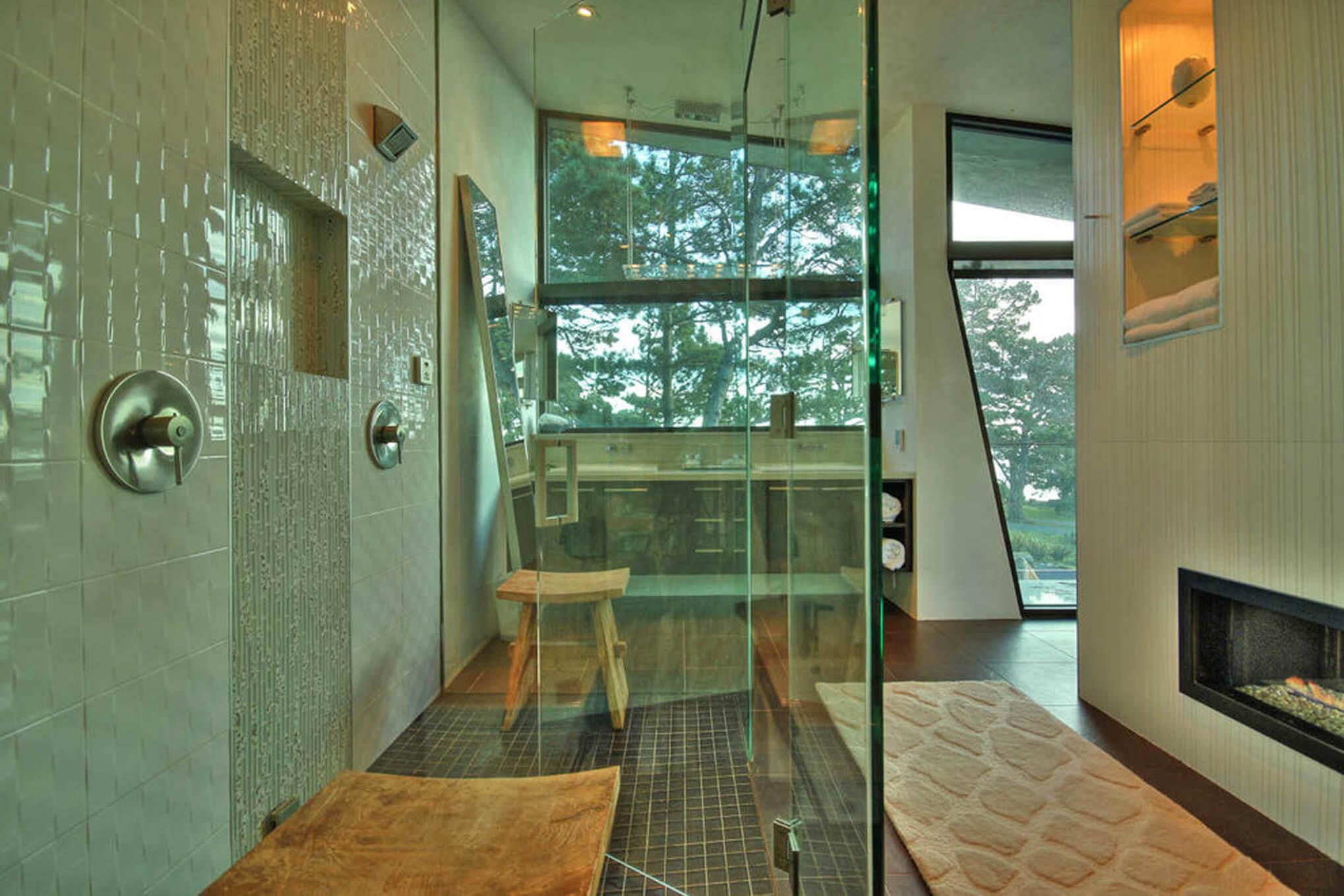 Custom large glass shower with tile designed by premiere Cincinnati Interior Designer, RM INteriors.