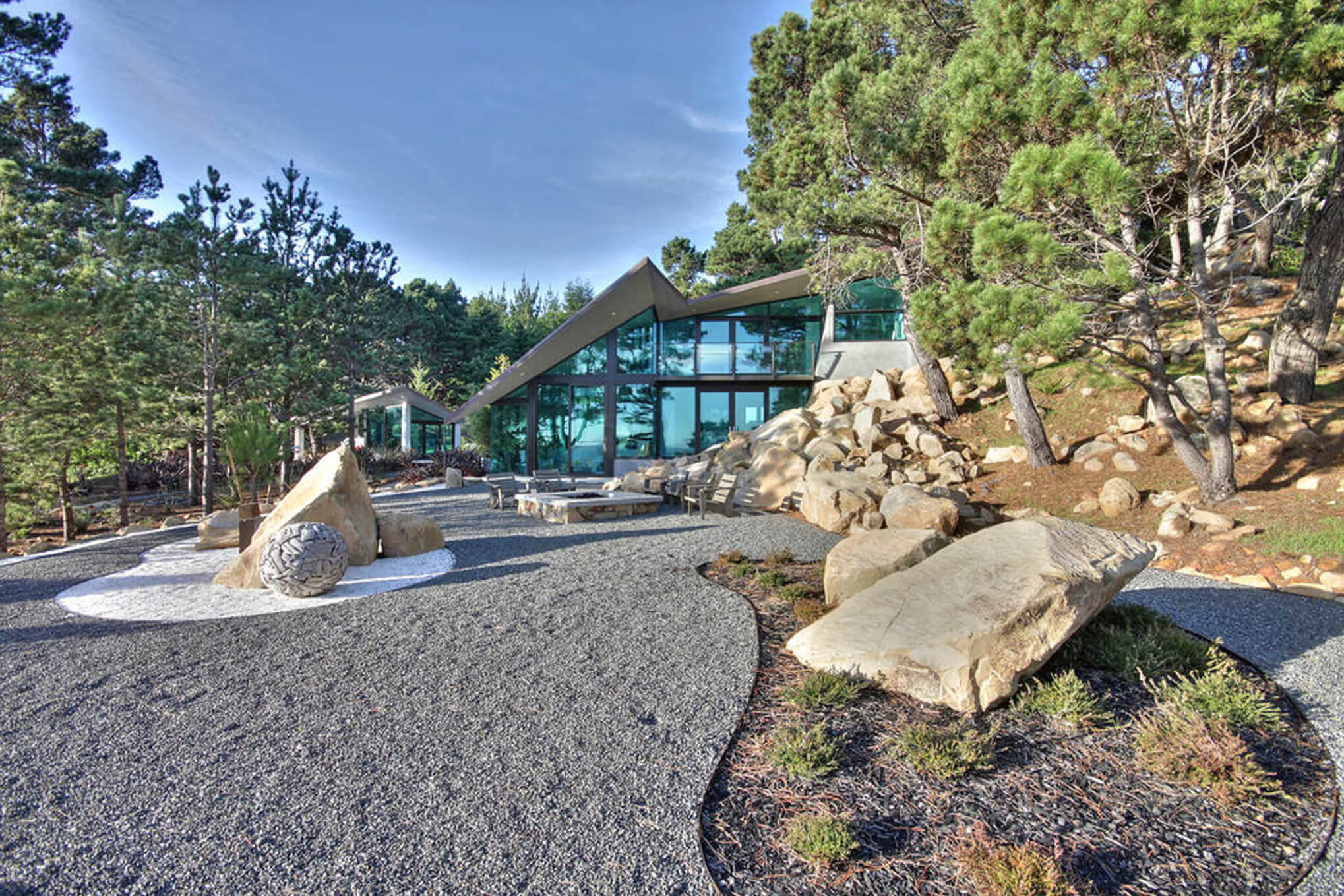 Exterior photography of property located on Sonoma Coast, California with interiors by interior designer, RM Interiors.