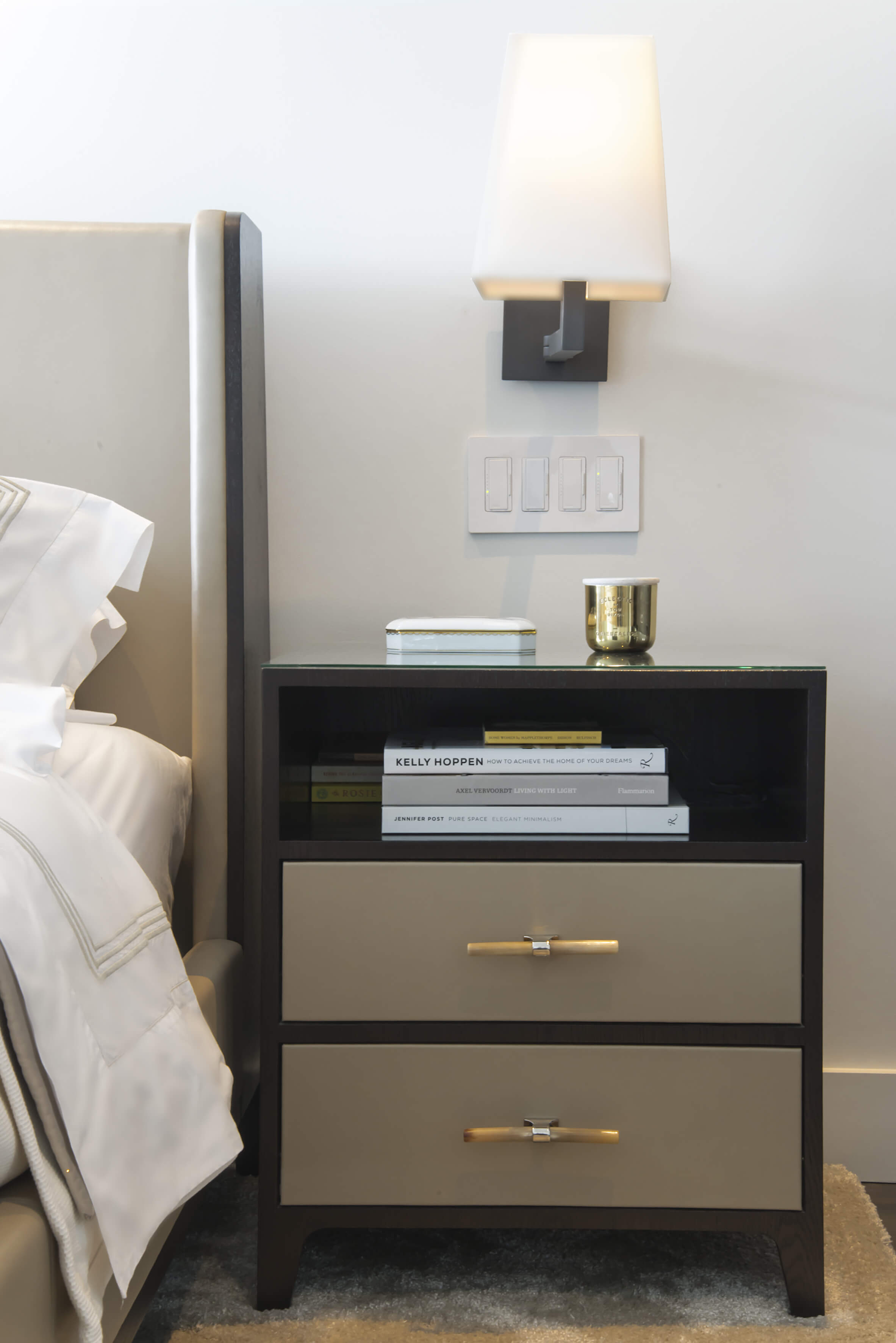 Detail shot of custom designed nightstand. This nightstand was custom designed by interior designer, Renan Menninger of RM Interiors.