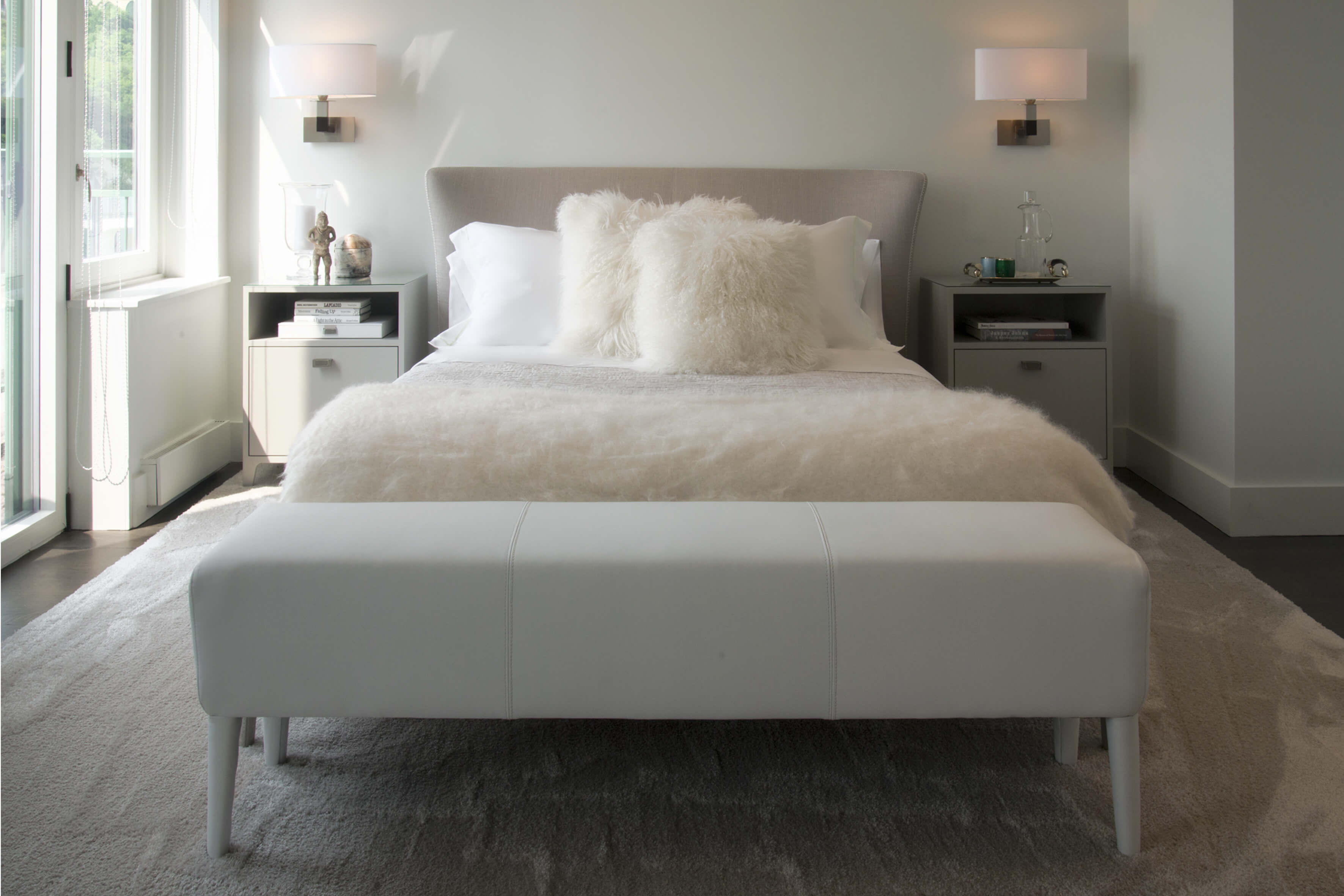 Plush, modern, and inviting bedroom designed by Cincinnati's premiere contemporary interior designer, RM Interiors.