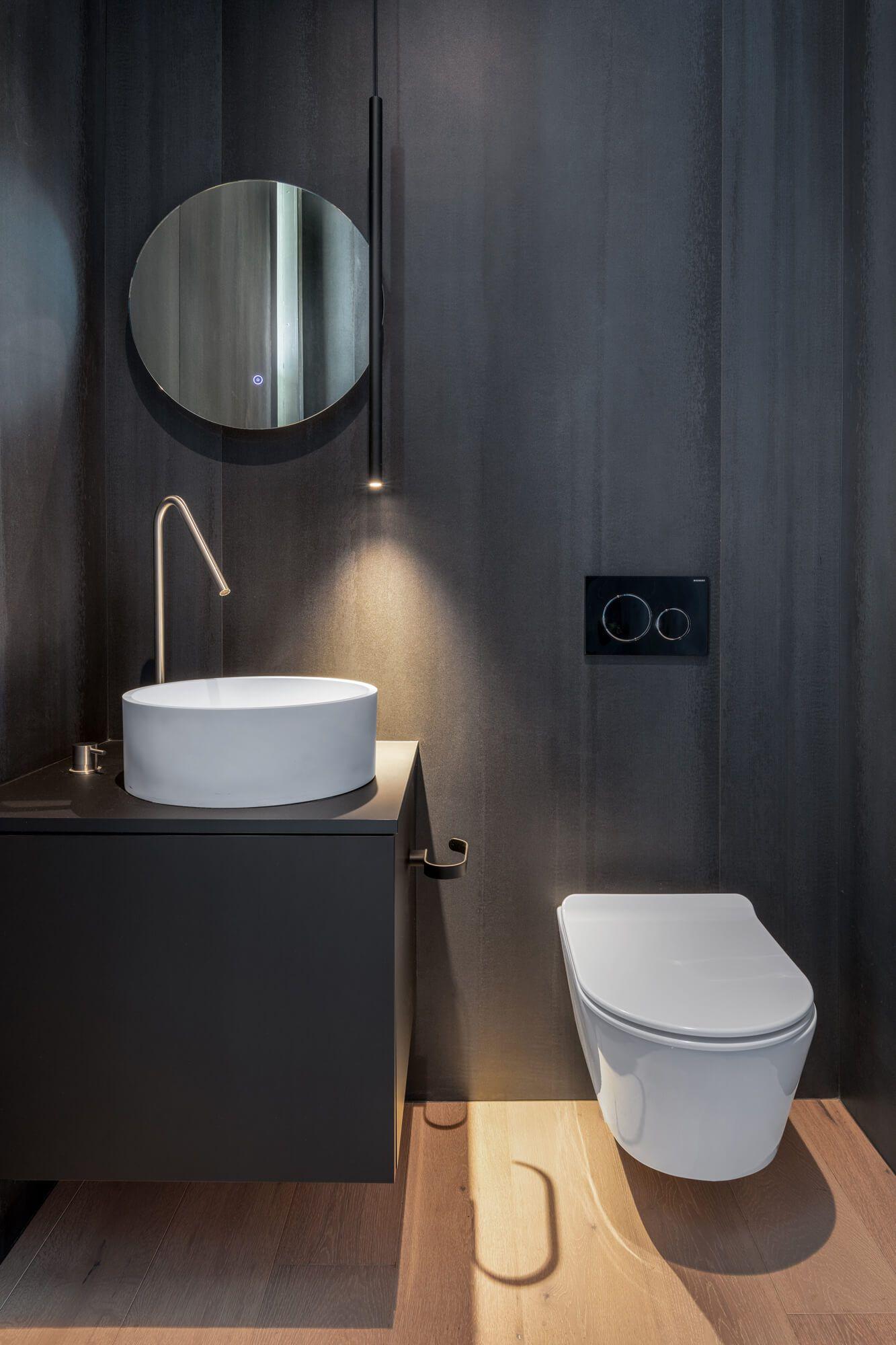 Black Modern Bathroom by Cincinnati Interior Designer RM Interiors