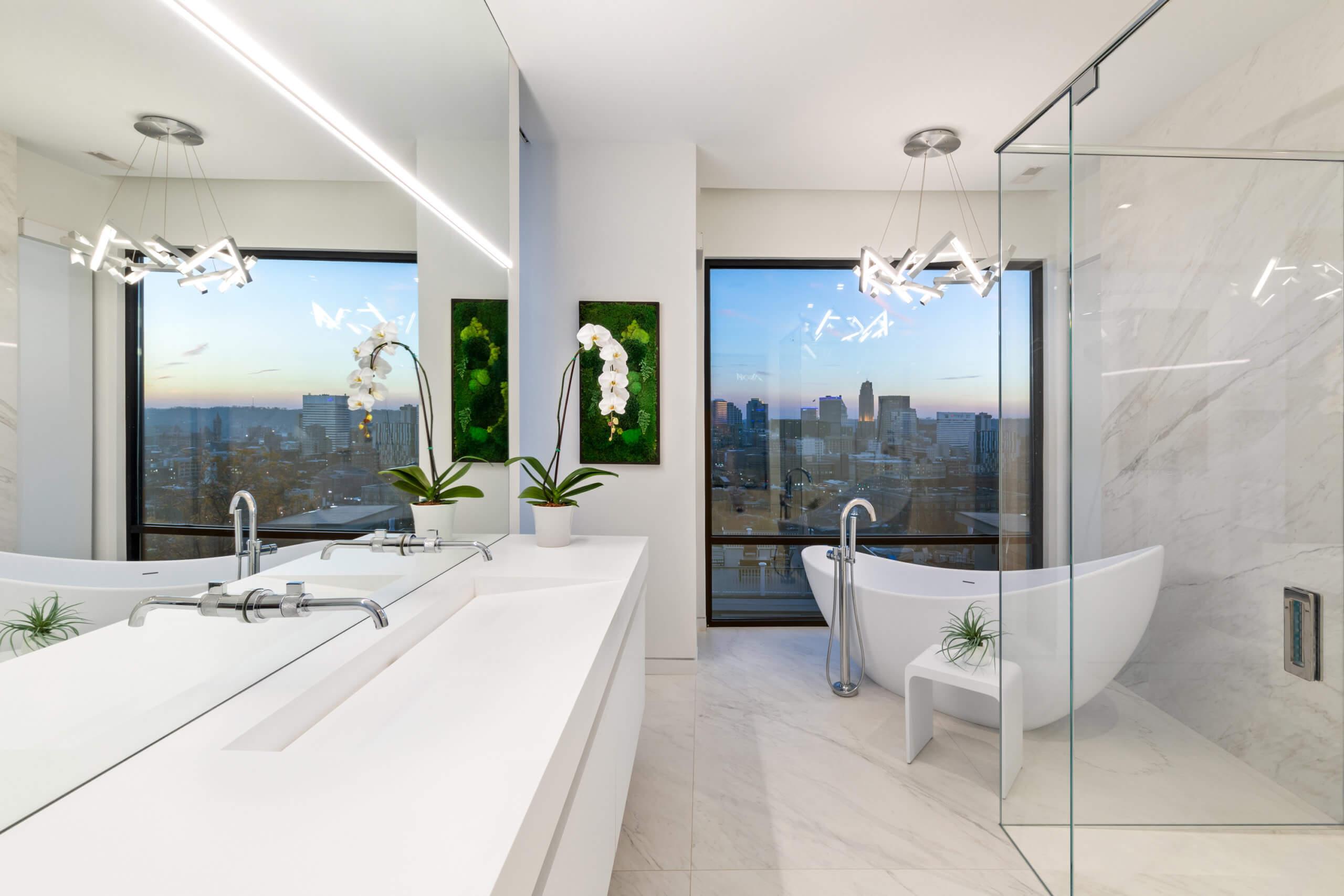 Modern Bathroom with Cincinnati Skyline View by Interior Designer RM Interiors
