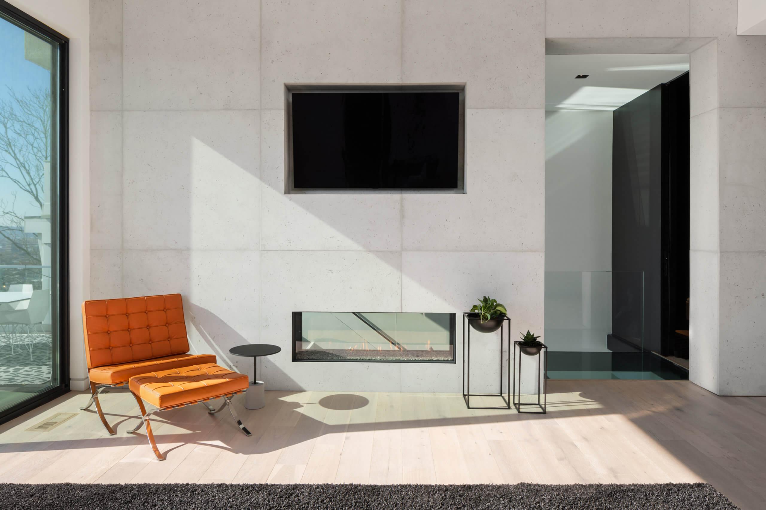 Modern tile fireplace by Interior Designer RM Interiors in Cincinnati, Ohio
